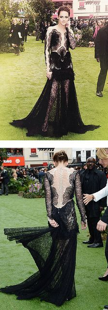 Kristen Stewart's Marchesa dress is pretty from the front and INSANE from the back.  (Love)