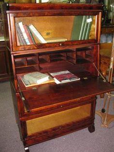 American Mahogany Barrister Bookcase w/Dropfront Desk - Morris Antiques