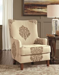 Traditional High Back Accent Chair with cream color and dark brown designs on it. Pink tufted accent chair - 21 Gorgeous Feminine Home Decor Ideas Gray Dining Chairs, Living Room Chairs, Accent Chairs For Living Room, Comfy Chairs, Coaster Furniture, Deck Chairs, Chair, Furniture, Fabric Accent Chair