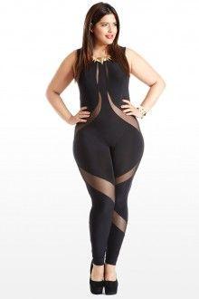 Plus Size Ribbon Dance Mesh Plus Size Jumpsuit