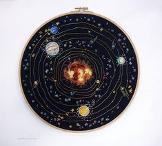 Hand Embroidered Solar System by Ophelie Trichereau Galaxy Painting, Galaxy Art, Sewing Tattoos, Bel Art, Sewing Pockets, Swarovski, Man Quilt, Aesthetic Drawing, Illustrations