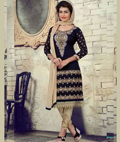 Buy Navy Blue Faux Georgette Churidar Suit 71254 online at lowest price from huge collection of salwar kameez at Indianclothstore.com.