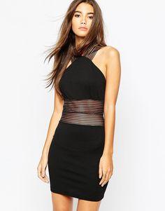 TFNC+High+Neck+Mini+Bodycon+Dress+With+Mesh+Panel