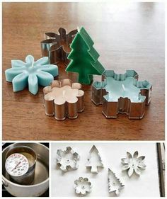 28 Pleasantly Fragrant DIY Christmas Candle Craft Ideas - Pretty Rad Lists Spread the holiday cheer in your home this Christmas with these awesome aromatic candles infused with your favorite fragrance! Old Candles, Small Candles, Mason Jar Candles, Candle Wicks, Candle Wax, Christmas Candles, Christmas Diy, Homemade Christmas, Diy Cookie Cutter