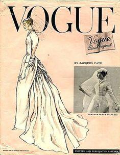 Vintage Vogue bridal gown pattern, 1956 by Jacques Fath Jacques Fath, Vintage Vogue Patterns, Vogue Sewing Patterns, Fashion Patterns, Clothes Patterns, Magazine Vogue, Wedding Dress Patterns, Moda Vintage, Vintage Ads