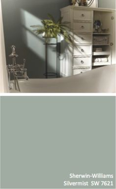 Paint color for kitchen and living room: Sherwin-Williams Silvermist (SW like this with distressed white furniture Green Paint Colors, Interior Paint Colors, Paint Colors For Home, Wall Colors, House Colors, Colours, White Distressed Furniture, White Furniture, Vintage Furniture