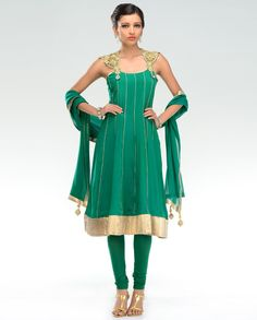 Emerald Suit with Embellished Straps  by Payal Singhal