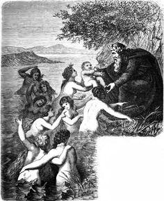 Heimdal durch die neun Wellenjungfrauen emporgehoben by K. Ehrenberg - Nine Mothers of Heimdallr - Wikipedia