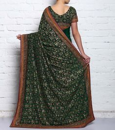 Bottle Green Pure Georgette Embroidered Saree #indianroots #ethnicwear #saree #georgette #embroidered Indus Valley Civilization, Georgette Sarees, Indian Sarees, Every Woman, Ethereal, Sari, Pure Products, Bottle, Green