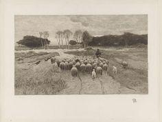 Elias Stark   Schaapherder, Elias Stark, 1889   Een schaapherder gevolgd door zijn kudde op de heide. Op de achtergrond berken en een bos. Rechtsonder in de marge een hondenkop.