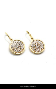 Tresor Collection - Signature Logo Earrings In 15mm With Diamond In 18k Yellow Gold | www.couturecandy.com