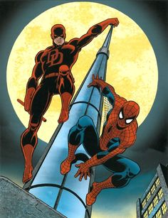 Daredevil ( created by Stan Lee, Bill Everett and Jack Kirby) Spider-Man (created by Stan Lee, Steve Ditko) Marvel comics.