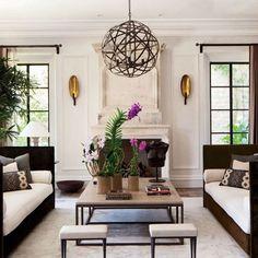 Gisele Bundchen & Tom Brady's Brentwood, CA home,Family Room - great orb chandelier