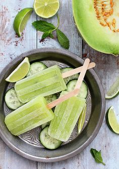 33 Super Cool Popsicles To Make This Summer: Cucumber Honeydew Margarita Popsicles via BuzzFeed