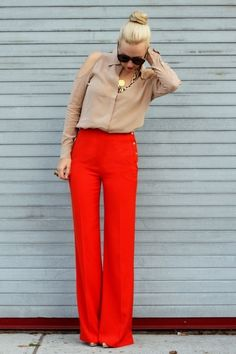 Red pants and nude top go great with gold accessories :)