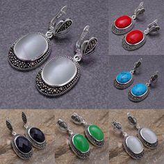 Fine oval drop gemstone bead silver hook stud pierced dangle earrings elegant