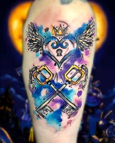 Kingdom Hearts💖🖤💖 One of my absolute favorite game. Any Kingdom Hearts fans out there? Tatouage Kingdom Hearts, Kingdom Hearts Tattoo, Kingdom Hearts Art, Dream Tattoos, Badass Tattoos, Body Art Tattoos, Print Tattoos, Cool Tattoos, Bioshock Tattoo