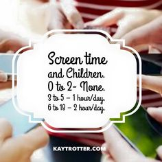 American Medical Associations recommended screen time by child's age.