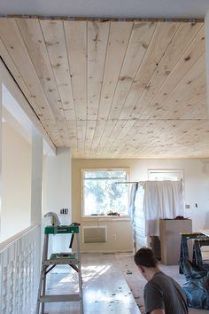Jenna Sue: Kitchen Chronicles: DIY Tongue and Groove Plank Ceiling Basement Ceiling Painted, Shiplap Ceiling, Plank Ceiling, Wood Ceilings, Ceiling Beams, Basement Ceilings, Home Renovation, Home Remodeling, San Francisco Apartment