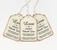 PERSONALIZED -Love is Sweet - Gift tags to tie on candy bags