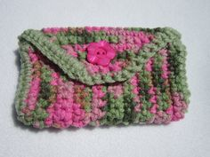 Crocheted Purse Pouch in Green and Pink. $6,50, via Etsy.