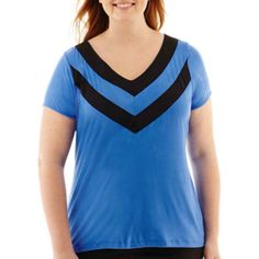 Worthington® Short-Sleeve Piped V-Neck Tee - Plus  found at @JCPenney