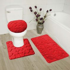 GorgeousHome(ROCK) New Bathroom Collection Set Memory Foam Bath Mat Contour Rug and Round Lid Cover Antislip Bathroom Assorted Colors (RED) Red Bathroom Decor, Bathroom Mat Sets, Bathroom Interior Design, Bath Mat, Small Bathrooms, Modern Bathroom, Bathroom Accessories, Bathroom Ideas, Rustic Rugs