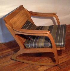 Danish Mid Century Modern Pecan Rocking Lounge Chair, Maharam Wegner Eames Knoll