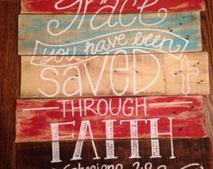 Bois de palette wall art décor-Bible verset-Ephésiens 2:8-Grace-foi-sauvé