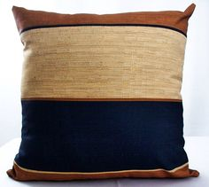 Navy blue pillow, Pillow cover, Brown and blue pillows, Blue stripe pillow, Decorative pillow cover, Gold throw sofa couch decor cushions by artsandcreations on Etsy https://www.etsy.com/listing/226474786/navy-blue-pillow-pillow-cover-brown-and