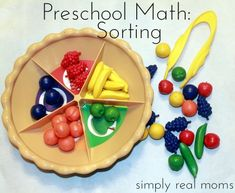 Preschool Math series this article sorting. Love the patterning article too. 15 Ways to Make Math Part of Your Day with Preschoolers Preschool Math, Body Preschool, Math Activities For Kids, Preschool Colors, Numbers Preschool, Preschool Curriculum, Preschool Lessons, Math For Kids, Math Classroom