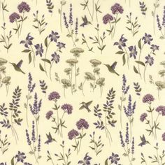 The Potting Shed Antique White 6623 11 Moda Fabrics and Holly Taylor Purple Fabric, Floral Fabric, Fabric Art, Quilting Projects, Quilting Designs, Quilt Design, Purple Home Decor, Old Country Stores, Textiles