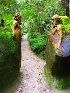 Guardians at the garden gateway ~ William Ricketts Sanctuary in the Dandenong National Park near Melbourne, Australia