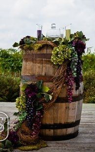 Wine Wedding Decorated Barrel. Contact beautyandbrainsconsulting.com for all you favorite design needs!