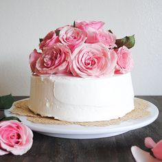 Tayberry Chocolate Cake with Fresh Cut Roses