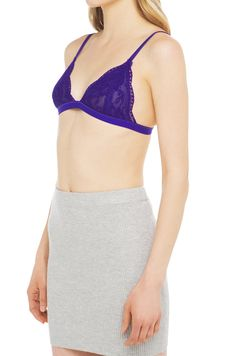 Oh Lacy Bralette in Blue Purple features lace cups that are lines with adjustable straps, three hook and eye closures and no underwire. Free standard shipping U.S +$75