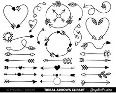 Arrows clip art, tribal arrow clip art, archery hand drawn arrows, doodle drawing tribal digital, Handdrawn arrows, Arrows digital