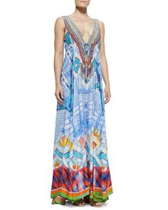 Long V-Neck Printed Dress by Camilla at Neiman Marcus.