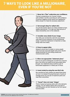 BI_Graphics_How to look like a millionaire, even if you're not_2016 Men Tips, Branding, Gentleman Style, Gentleman Rules, Psychology Facts, Real Style, Men's Grooming, Life Advice, Body Language