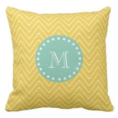 SAVE 25% on all decorative throw pillows on our site. Use code: ZAZWEEKSALES at checkout. Yellow Chevron Pattern | Mint Green Monogram Pillows