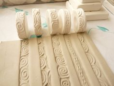 Celtic Curls Scroll Theme Clay Stamp Roller Set by www.claystamps.etsy.com