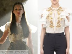 Mary Queen of Scots (Adelaide Kane) wears this white ruffle sleeve top blouse with gold embroidery in this week's episode of Reign. It is the Alexander Mcqueen Embroidered Dragon-fly Silk organza Top in White. Sold Out.