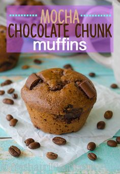 Mocha Chocolate Chunk Muffins: Moist and tender coffee flavored muffins filled with gooey chunks of chocolate. No oil, no butter, but so many mouthwatering flavors! Chocolate Greek Yogurt, Mocha Chocolate, Chocolate Muffins, Moca, Vanilla Coffee Creamer, Making Cold Brew Coffee, Unsweetened Applesauce, Pastry Recipes, Baked Goods