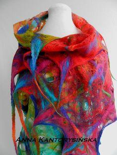 felted scarf shawl RAINBOW handmade free shipping by kantorysinska, $124.00