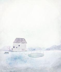 milk house, by dansedelune, mixed media landscape.