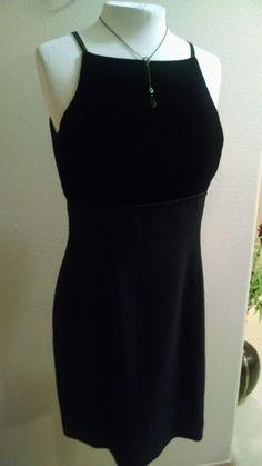 Jones New York Little Black Velvet Bodice Satin Straps Formal Cocktail Dress 10P #JonesNewYork #EmpireWaist #Formal