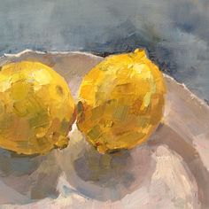 Lemons to brighten up Monday at my #christmasexhibition from now until #christmas #paintings #painting #art