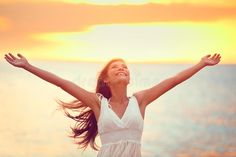 Download Free Happy Woman Praising Freedom At Beach Sunset Stock Image - Image of free, healthy: 49157481
