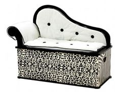 "Wild Side Bench/Toy Box with Storage features - Sophisticated ""fainting couch"" design, Removable back, arm and seat cushions, Slow-closing metal safety hinge Kids Storage Bench, Storage Bench Seating, Toy Storage, Kids Bench, Seat Storage, Storage Ideas, My Princess, Modern Princess, Fainting Couch"