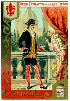 "Vintage Italian Posters ~ #illustrator  #Italian #vintage #posters  ~ Stenterello  Liebig's Beef Extract ""Italian Masque Costumes"" Italian issue, 1891 Stenterello ~ Florence"